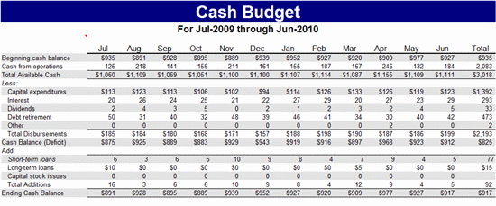 Cash Budget Template Microsoft Excel Template MS