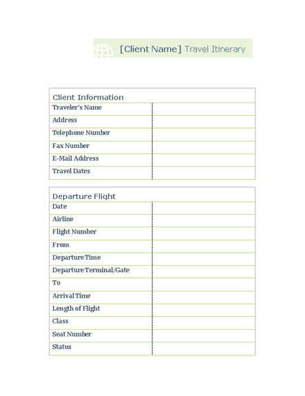 how to make an itinerary on word