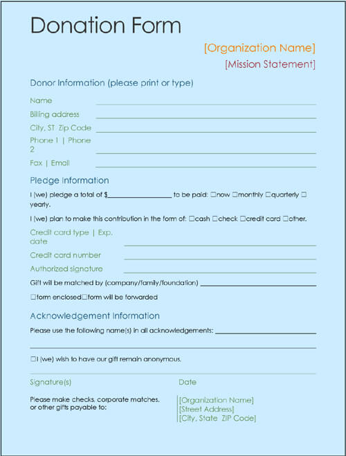 donor forms template