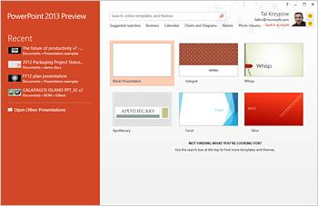 Powerpoint 2013 start screen - www.office.com/setup
