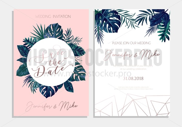 save the date tropical invitation design modern wedding card with tropical leaves and blush pink background trendy design for poster or greeting