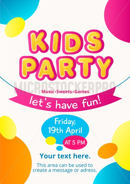 colorful kids party invitation kids party concept colorful invitation for birthday party etc vector illustration