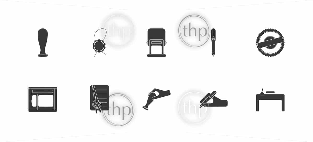 Set of icons for notary public, lawyer or professional