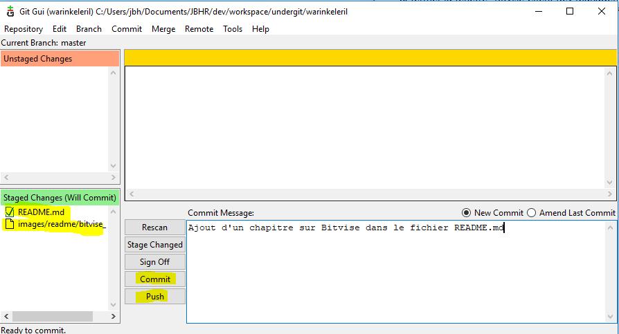 GIT GUI - Commit et Push