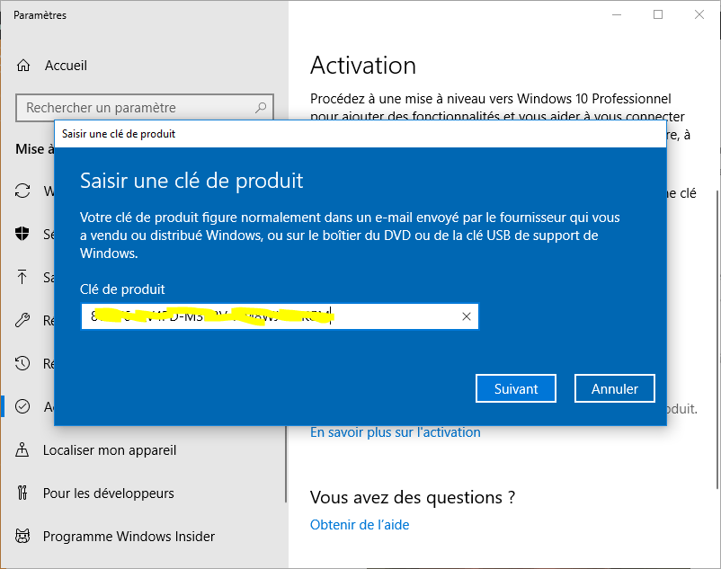 activation windows 10 professionnel
