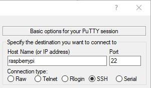 Putty: options pour le premier accès ssh sur une raspberry pi