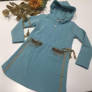 vestido felpa de kauli en azul de la coleccion marquesa