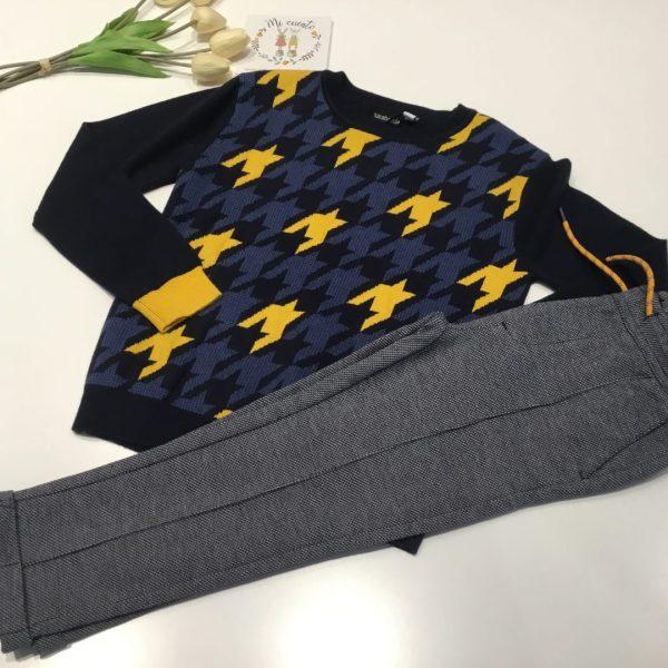 jersey punto geometrico enamarillo y azul sarabanda