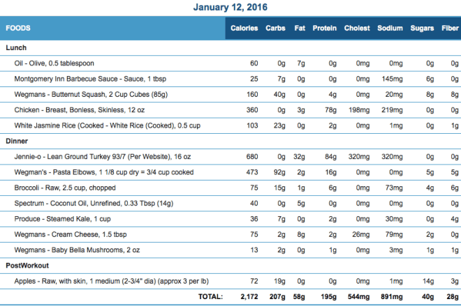Mike's Diet Journal Entry for January 12 2016
