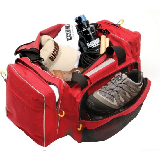 red gym bag opened revealing misc items like shoes, water bottles, hats, etc
