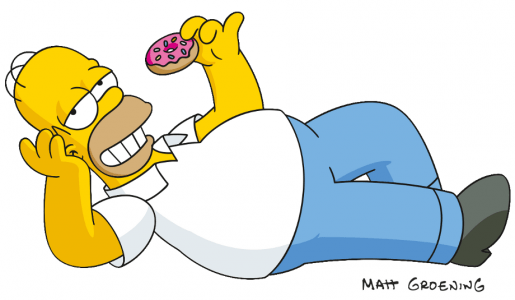 Homer Simpson eating a doughnut