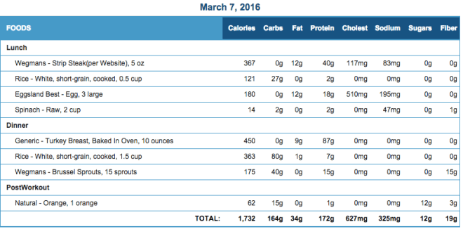 Mike's Diet Journal Entry for March 7 2016
