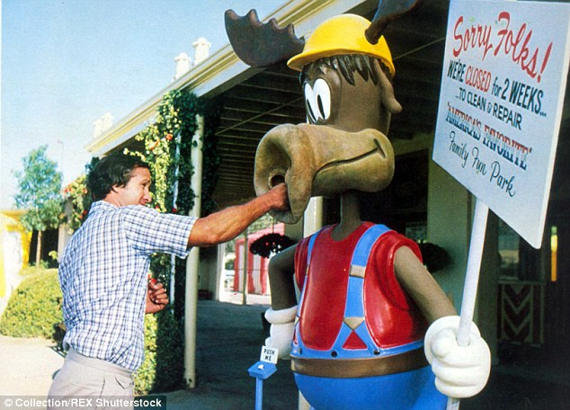 Chevy Chase Hitting Wally's World moose