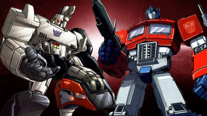 Megatron and Optimus Prime aka Decepticon and Autobot