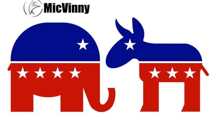 elephant and donkey representing conservative and liberal parties