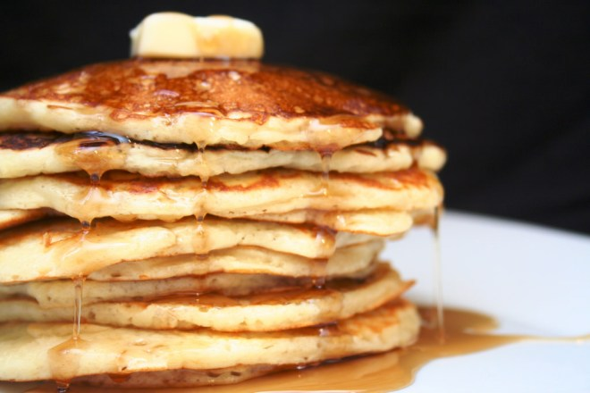 Stack of pancakes which is not paleo friendly