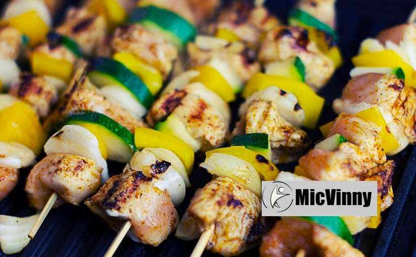 summer party barbecue chicken kabobs with vegetables from MicVinny