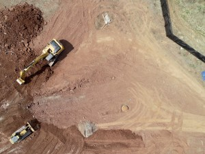 Aerial picture of construction site