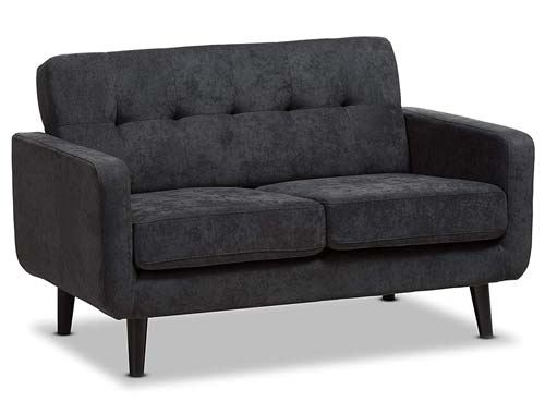 Baxton Studio - Carmena Loveseat Couch Dark Grey