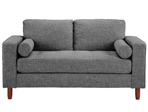 Divano Roma Modern Tufted Love Seat - Light Grey