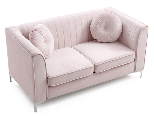 Glory Furniture Delray Loveseat Mid-Century - Pink