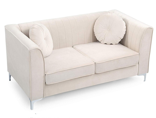 Glory Furniture Delray Loveseat Mid-Century - White