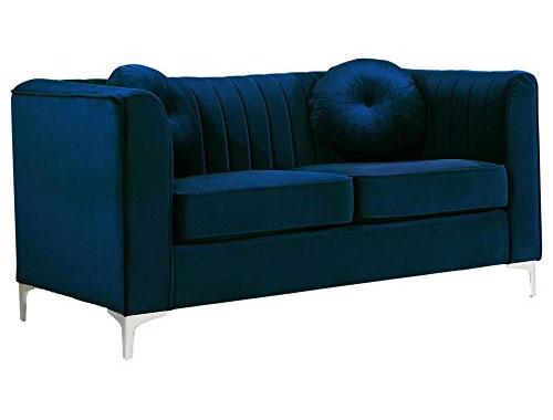 Meridian Furniture Isabelle (Velvet) - Loveseat Sofa - Navy Blue