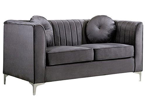 Meridian Furniture Isabelle (Velvet) - Loveseat Sofa - Gray