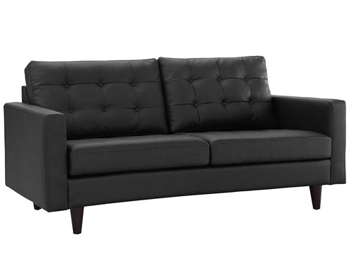 Modway Empress Leather Loveseat - Black