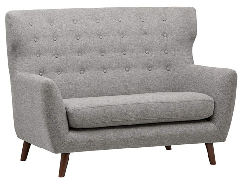 Rivet - Hawthorne Midcentury Settee - Light Gray