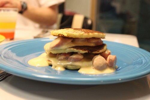 Corn Pancakes with Hot Dog Sauce and Tangy Marshmallow Pie