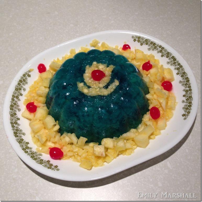 blue jello pineapple mold