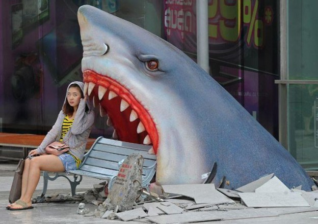 Shark Bench, Khao San Road, Bangkok, Thailand.