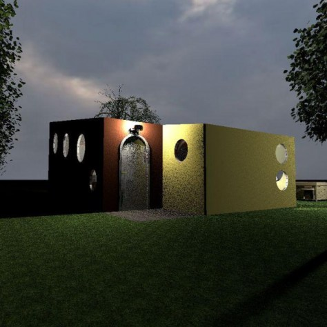 Ronnie's Tiny House Front and Side View at Dusk Entry Light On