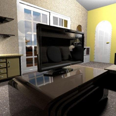 Ronnie's Tiny House Living Area Looking Toward Bathroom Door and Way Toward Kitchen