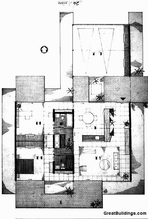 Richard neutra bailey house plan for Case study house 8 floor plan