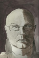 Self-Portrait in Grey Watercolor.