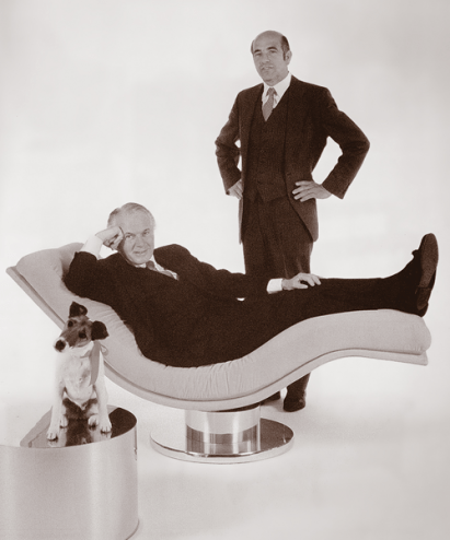 Milo Baughman and Thayer Coggin. Milo Sits in a Swivel Lounger.