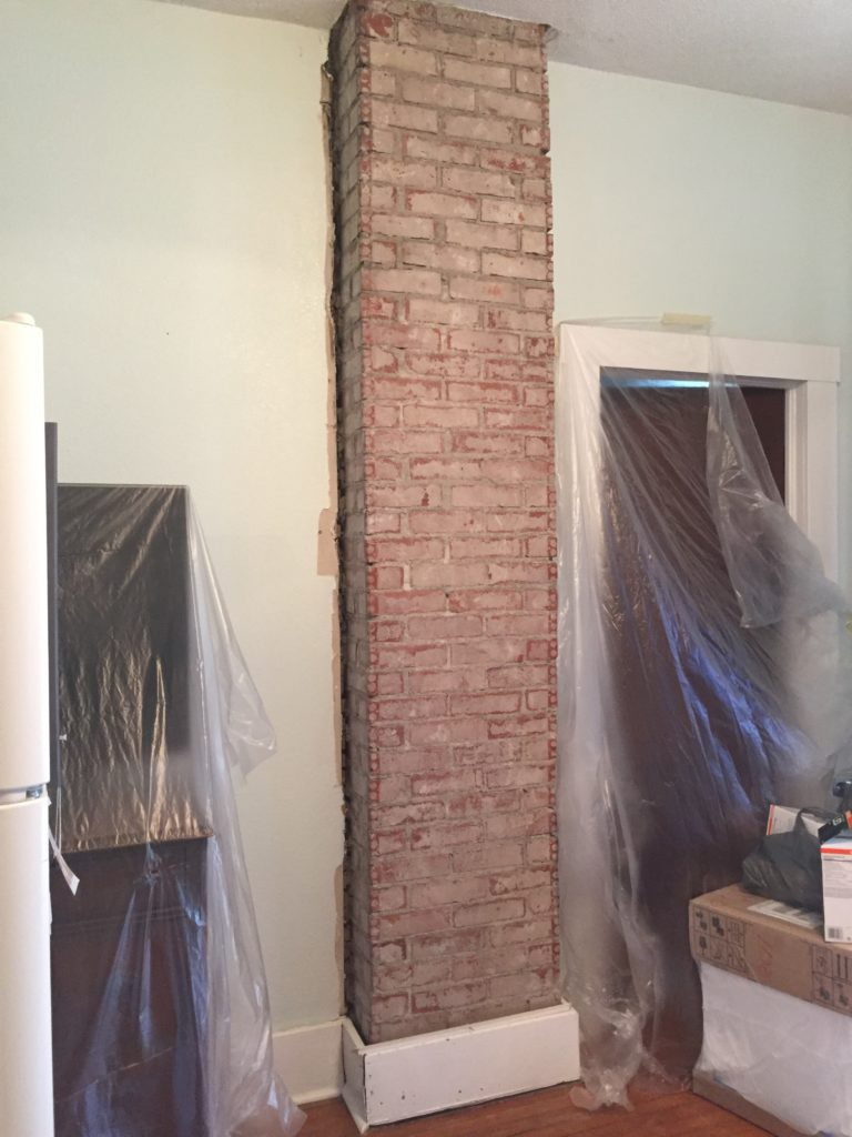Exposing and Whitewashing a Brick Chimney