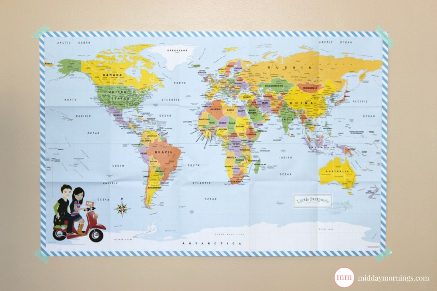 A world map from Little Passports: World Edition. Read my review at MiddayMornings.com