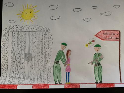 Heba* drew this picture of her time in detention (Save the Children)