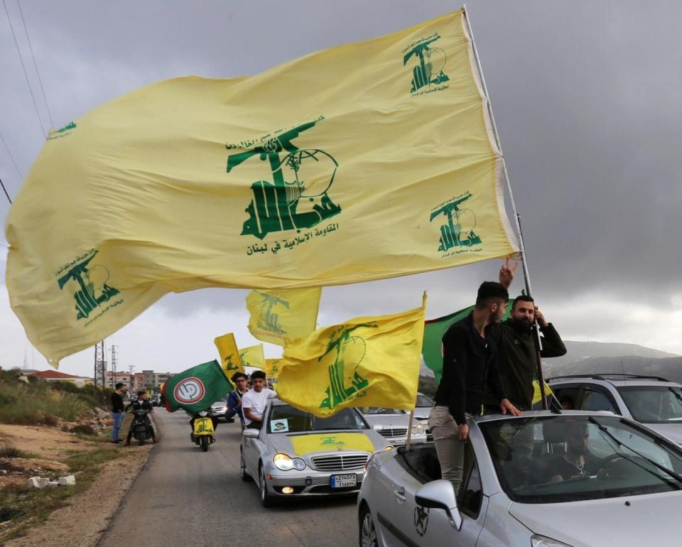 Hezbollah supporters celebrate the results of the May 2018 legislative elections (Reuters)