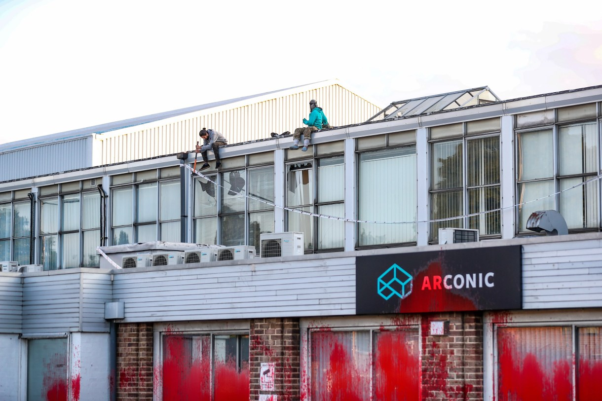 Palestine Action activists scaled the Arconic Factory in Birmingham to stop its operations (Supplied: Palestine Action)