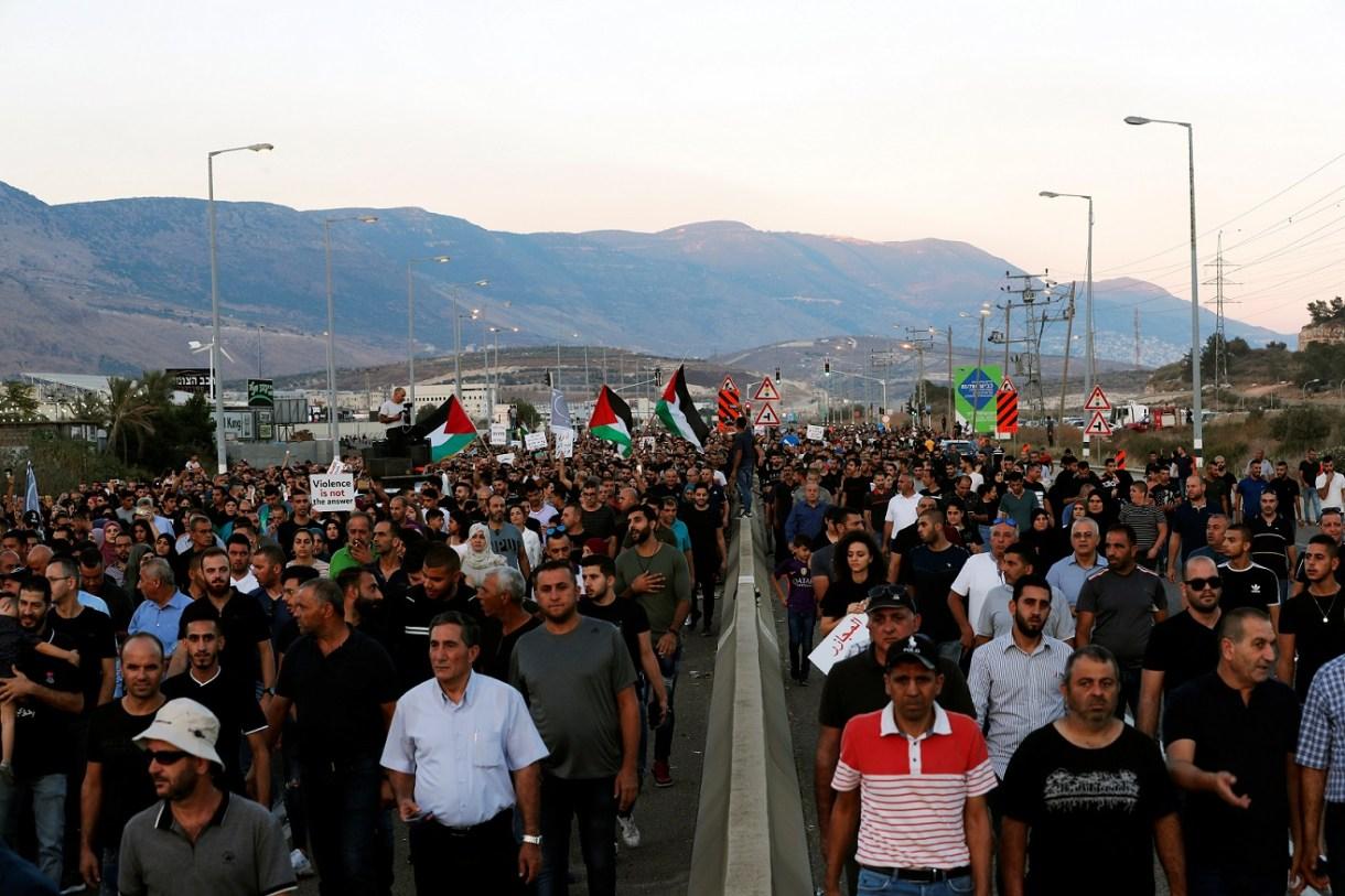 Protest against the Israeli police in Majd al-Krum earlier this month (Reuters)