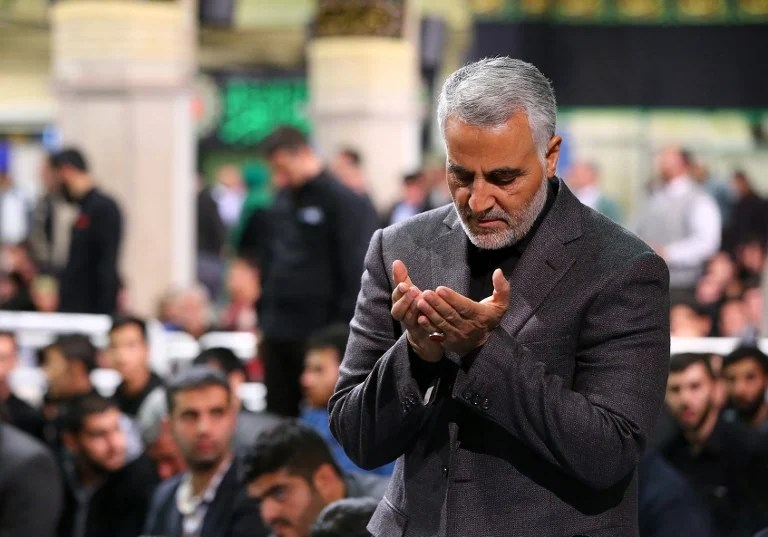 Soleimani attends a religious ceremony in Tehran in 2015 (Handout/khamenei.ir/AFP)