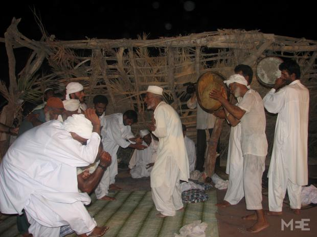 These men are taking part in a Zar ceremony in Khorramshahr in Khuzestan province in 2011 (Image courtesy of Behnaz Mirzai), The little-known descendants of black Iranians who are victims of the cruel Arabian slave trade