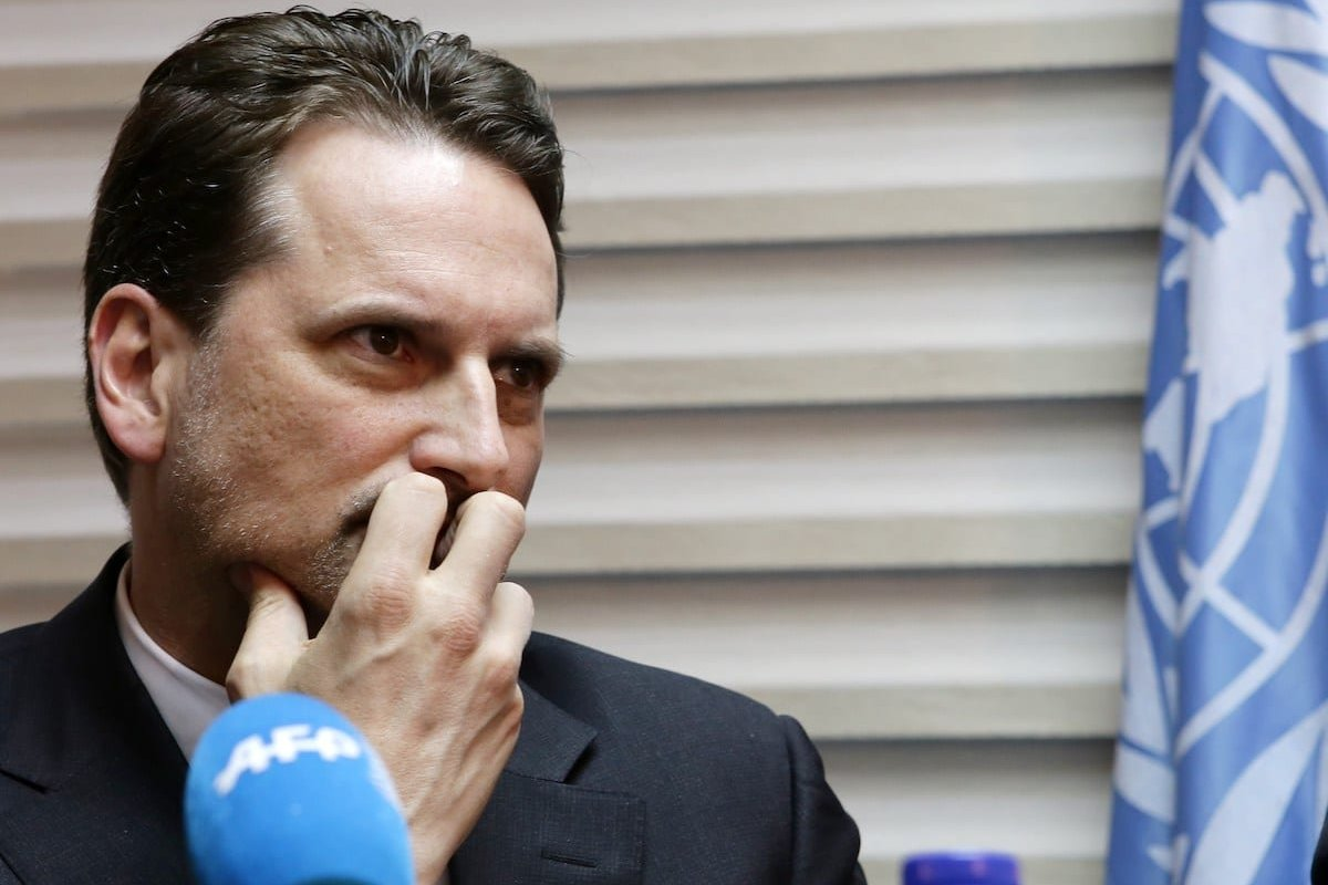 The commissioner general of the United Nations Relief and Works Agency (UNRWA), Pierre Krahenbuhl listens to AFP journalists' questions during an interview on April 14, 2015 in the Syrian capital Damascus. [LOUAI BESHARA/AFP via Getty Images]