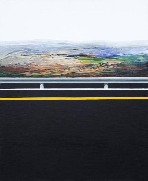 """""""Eltifaf"""". Acrylic on Canvas - 65 X 80 cm, 2015. [Rafat Asad]"""