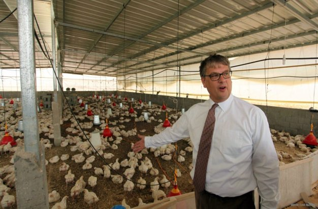 Representative for the Netherlands to the Palestinian Authority Peter Mollema visits a chicken farm supplied with water that is provided by a Dutch-funded project, in Khan Younis in the southern Gaza Strip May 1, 2016. [Ashraf Amra / Apa Images]