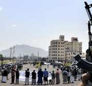 Houthi Ansarullah Movement members gather to protest before they journey to the frontlines in their conflict against Abd Rabbuh Mansur Hadi's forces, in Asir province of Sanaa, Yemen on August 25, 2016